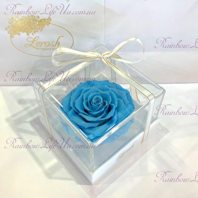 "Бутон розы в коробке голубая ""Lux"""