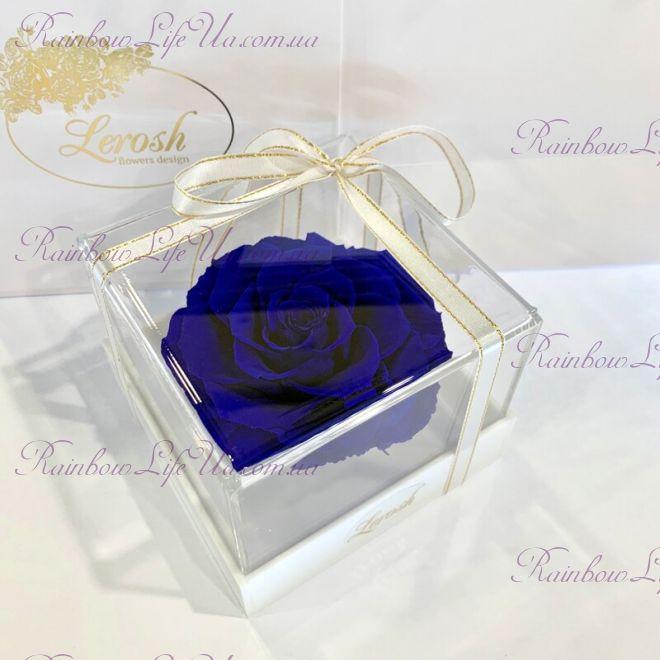 """Бутон розы в коробке синяя """"Lux"""""""