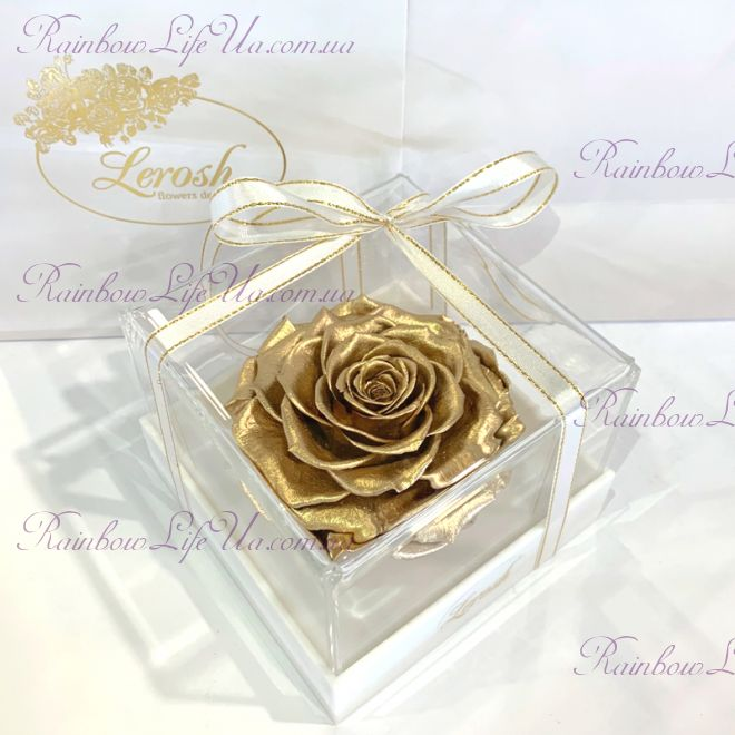 """Бутон розы в коробке золото """"Lux"""""""