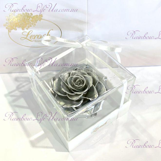 """Бутон розы в коробке серебро """"Lux"""""""
