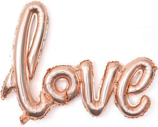 Надпись love розовое золото с воздухом НЕ ЛЕТАЕТ