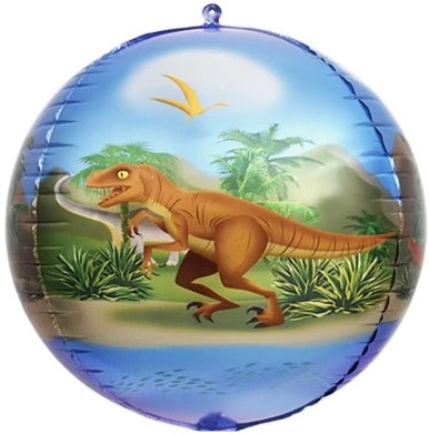 Динозавры сфера 3d (4 стороны - 4 рисунка) шар фольгированный с гелием