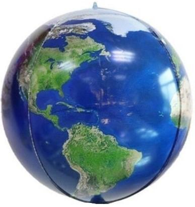 Глобус Планета Земля 3d сфера шар фольгированный с гелием
