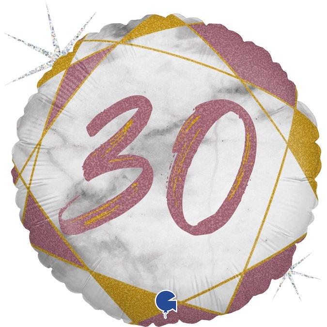 30 розовое золото круглый шар фольгированный с цифрой с гелием