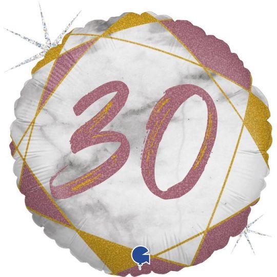 30 розовое золото шар фольгированный с цифрой с гелием