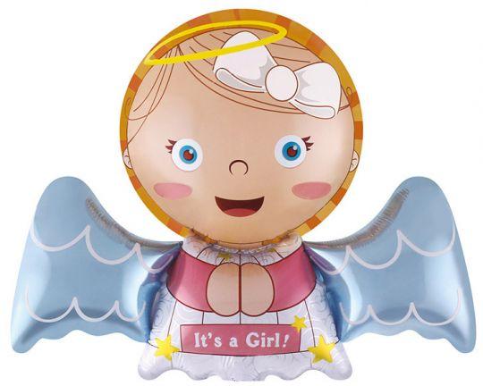 Ангелочек Девочка на палочку шар фольгированный с воздухом