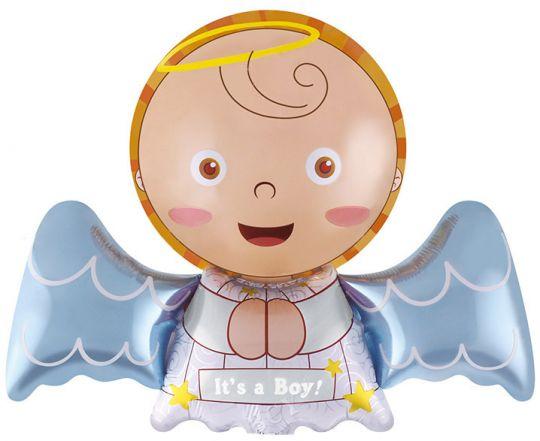 Ангелочек Мальчик шар на палочке фольгированный с воздухом