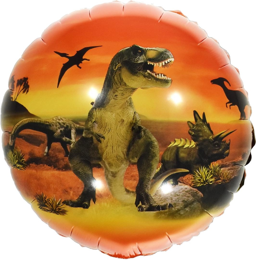 Прогулки с динозаврами на закате круглый шар фольгированный с гелием