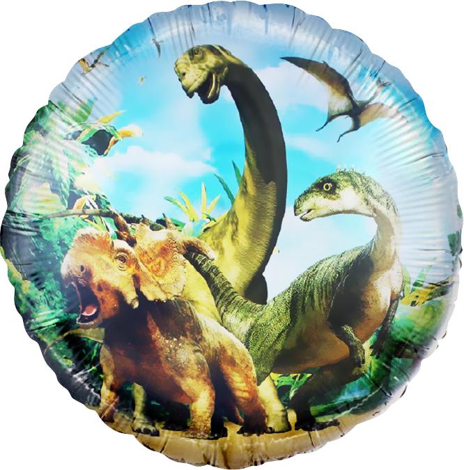 Прогулки с динозаврами поутру шар фольгированный с гелием