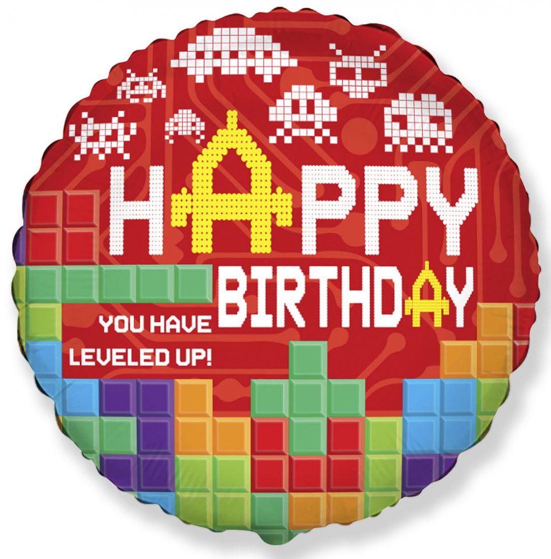 С Днем Рождения Пиксели Компьютерные игры круглый шар фольгированный с гелием