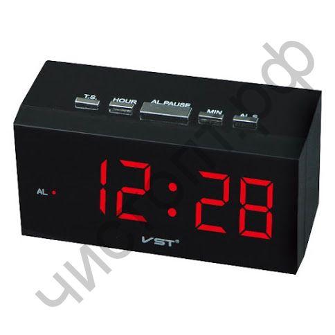 Часы  эл. сетев. VST772-1 будильн. крас.цифры (11*5*5,5 см)