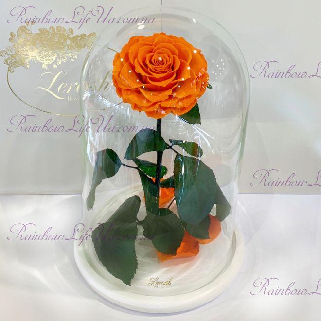 """Роза в колбе оранжевая 33 см """"Lux"""""""