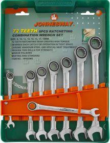 W45308S Набор ключей гаечных комбинированных трещоточных на держателе, 8-19 мм, 8 предметов
