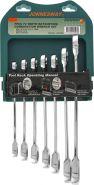 W45107S Набор ключей гаечных комбинированных трещоточных на держателе, 10-19 мм, 7 предметов