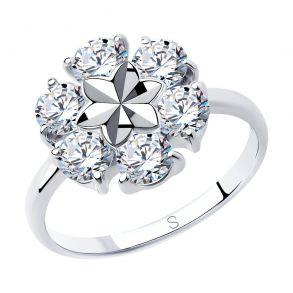 Кольцо из серебра с алмазной гранью с фианитами 94012979 SOKOLOV