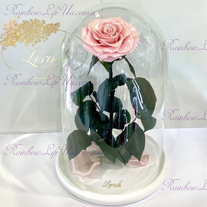 "Роза в колбе розовый перламутр 33 см ""Lux"""