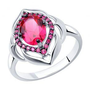 Кольцо из серебра с корундом рубиновым (синт.) и красными фианитами 84010024 SOKOLOV