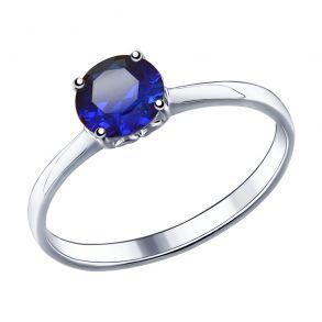 Кольцо из серебра с синим корундом 88010056 SOKOLOV