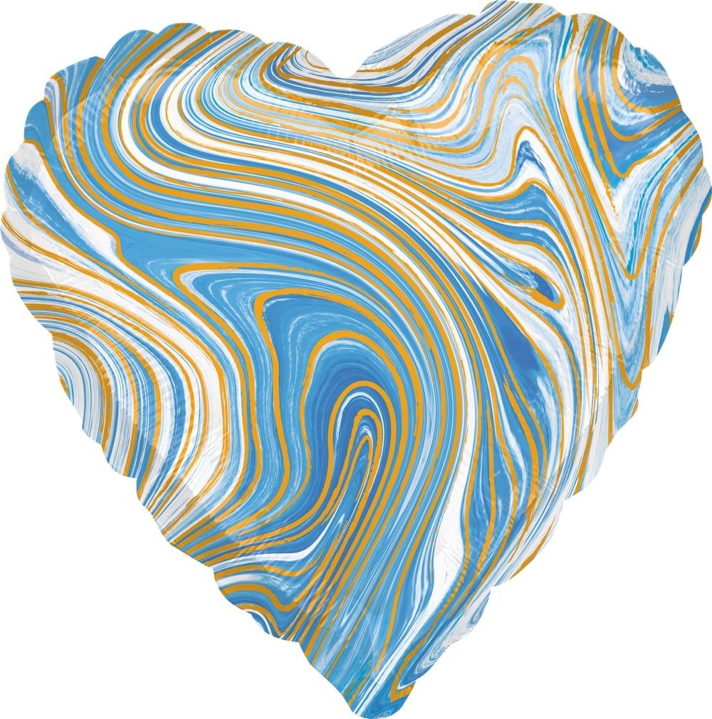 Сердце голубое Золотая Нить шар фольгированный с гелием