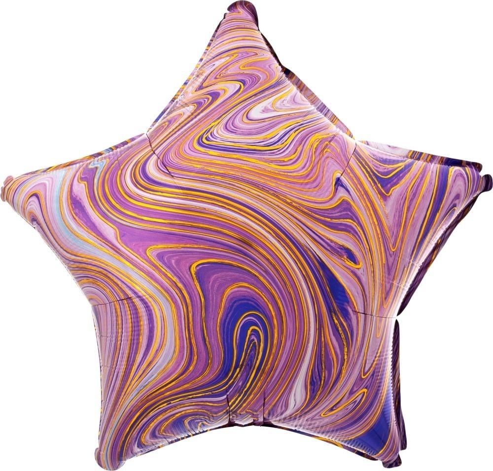 Звезда сиреневая Золотая Нить шар фольгированный с гелием