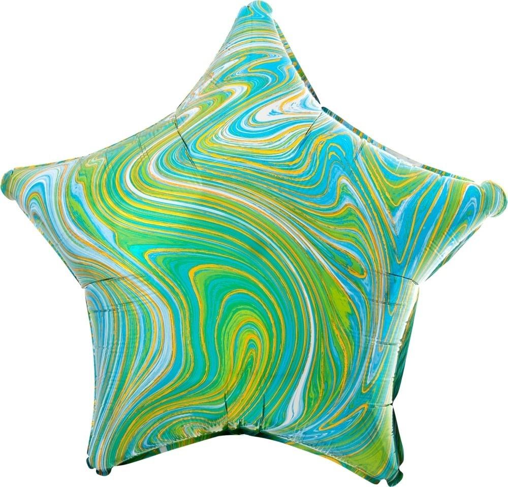 Звезда лайм Золотая Нить шар фольгированный с гелием
