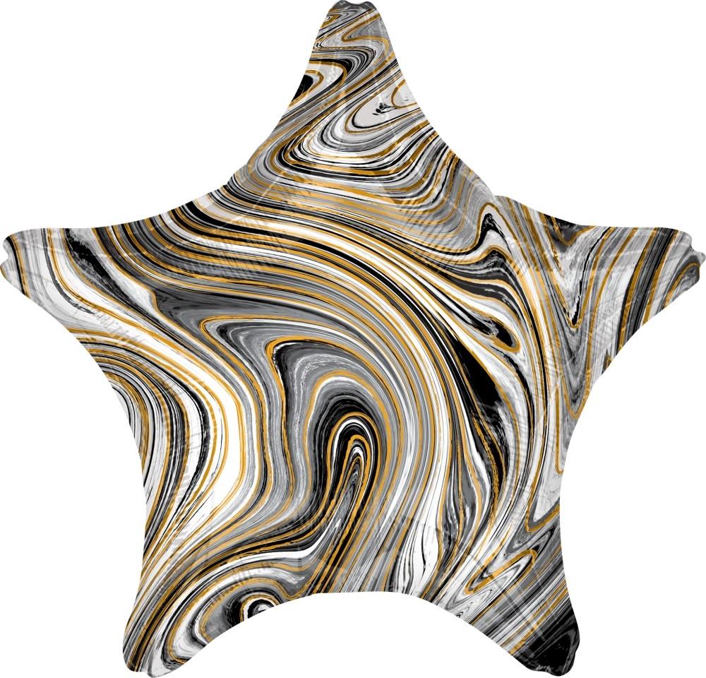Звезда черная Золотая Нить шар фольгированный с гелием