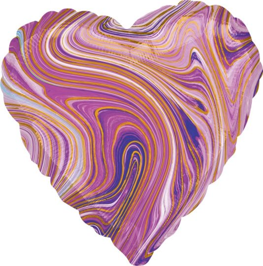 Сердце сиреневое Золотая нить шар фольгированный с гелием
