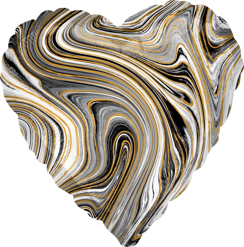 Сердце черное Золотая нить шар фольгированный с гелием