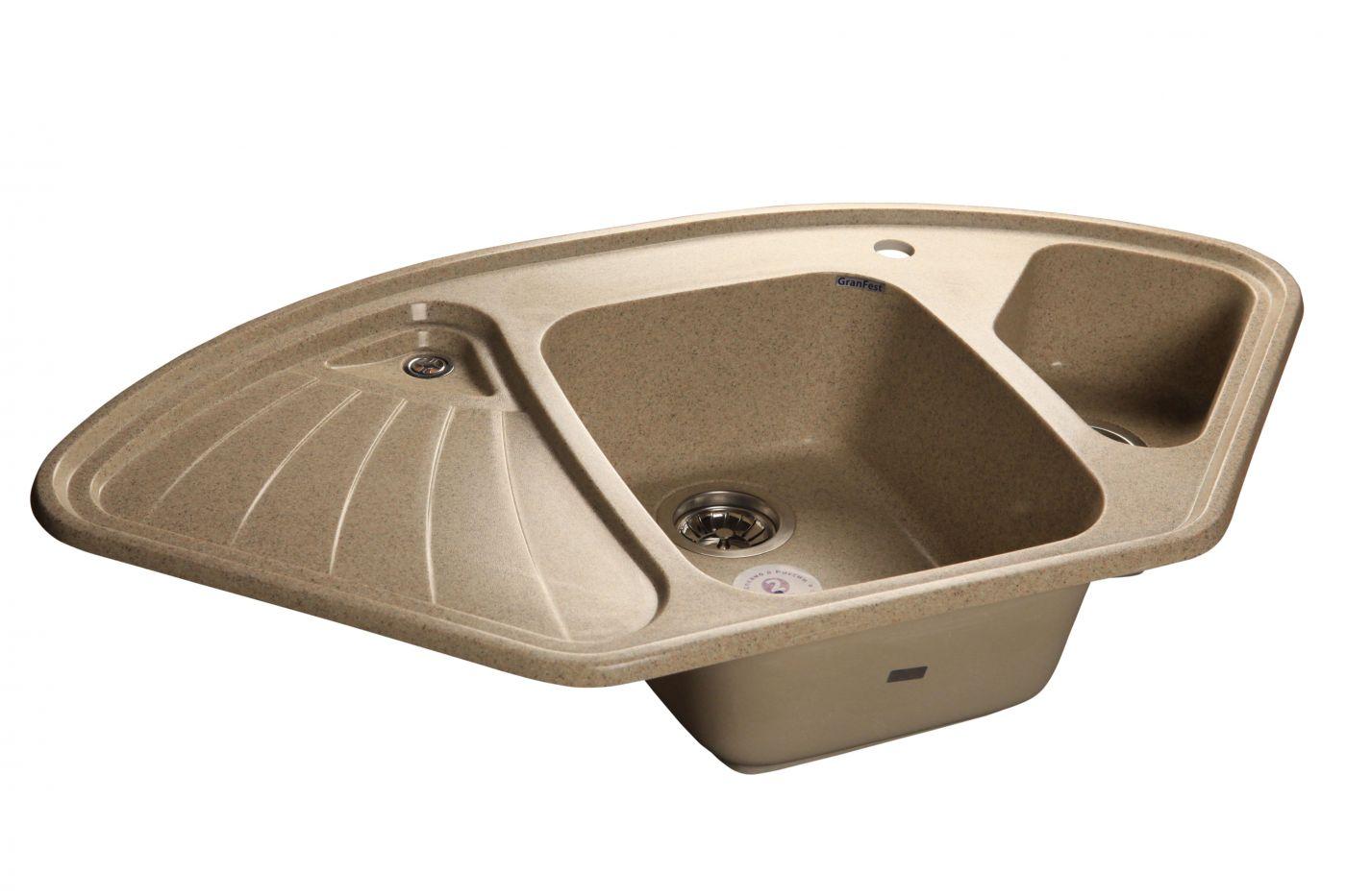 Угловая мраморная мойка GranFest Corner GF-C1040E Песочный
