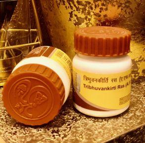 Трибхуванкирти Рас/Tribhuvankirti Ras (кашель, простуда, печень, селезёнка)80 таб