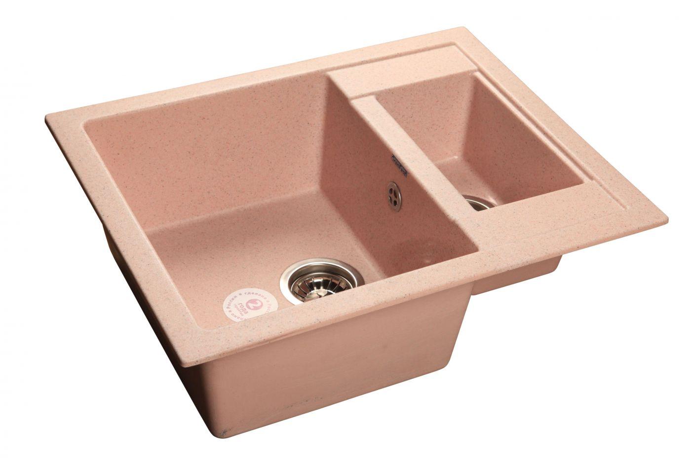 Мраморная мойка GranFest Quadro GF-Q610K Светло-розовый