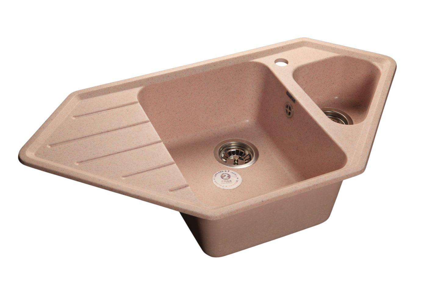 Мраморная мойка GranFest Corner GF-C950E Светло-розовый