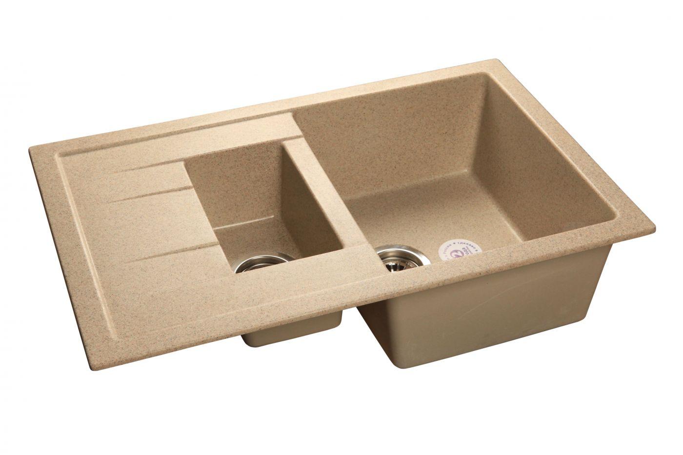 Мраморная мойка GranFest Quadro GF-Q775KL Песочный