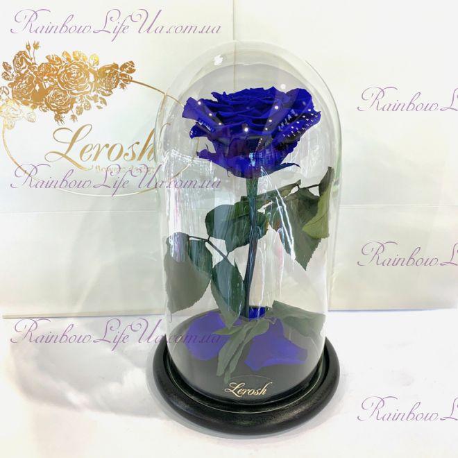 "Роза в колбе 27 см синяя ""Premium"""