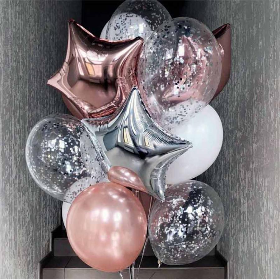 Композиция из гелиевых шаров розовое золотои и серебро