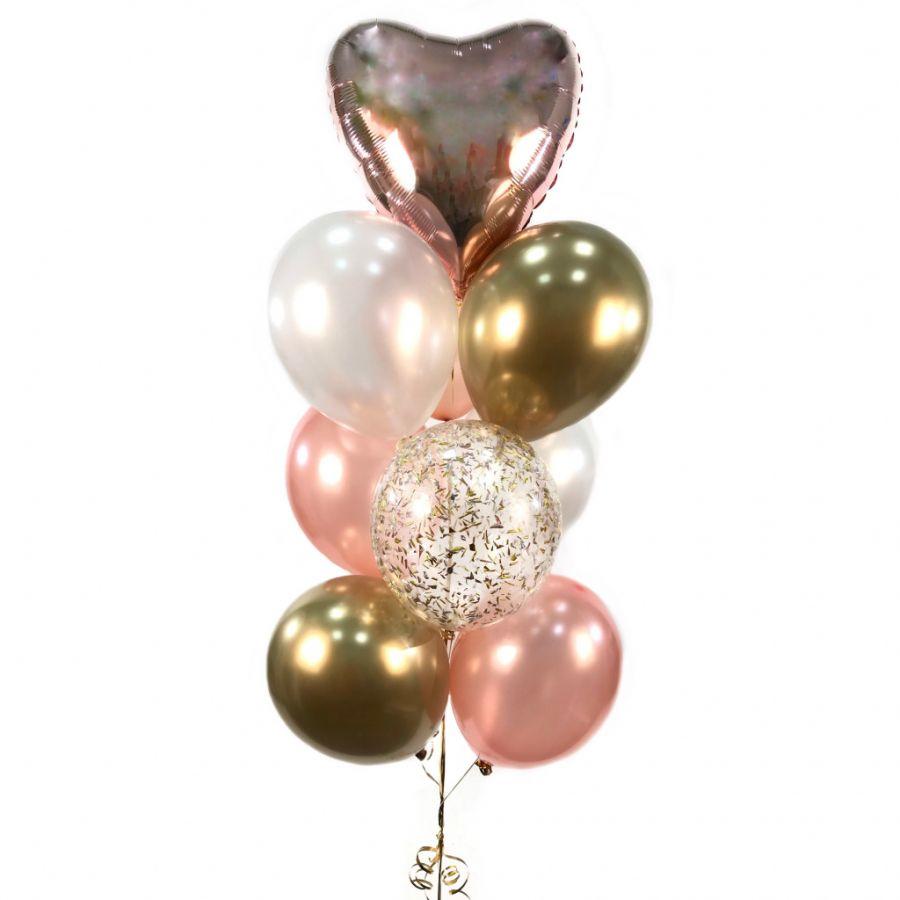 Фонтан из гелиевых шаров Розовое золото из 10 шаров с хромом и конфетти