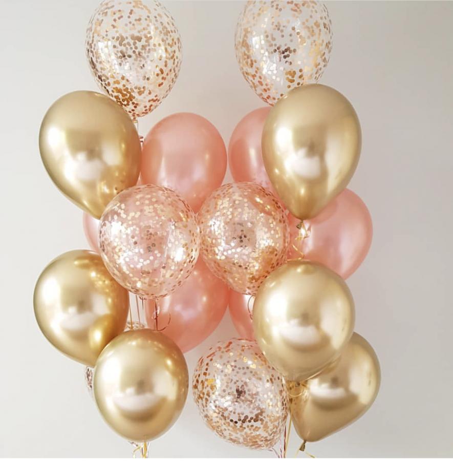 Композиция из гелиевых шаров металлик хромированные золотые и розовое золото