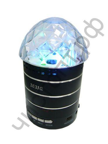 Колонка универс.с радио LC-2031Q LED лампа , FM / USB  / TF / 3.5 mm , RGB lasers крутится (разные цвета)