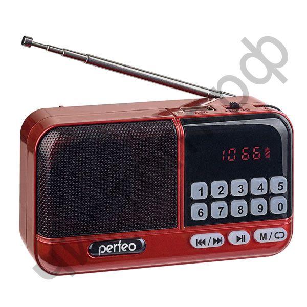 Колонка универс.с радио Perfeo ASPEN FM+ 87.5-108МГц/ MP3/ питание USB или 18650/ красный (i20))