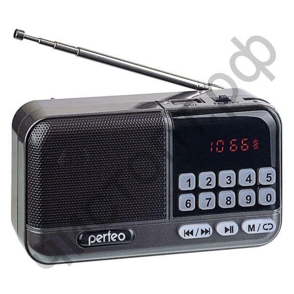 Колонка универс.с радио Perfeo ASPEN FM+ 87.5-108МГц/ MP3/ питание USB или 18650/ серый (i20))