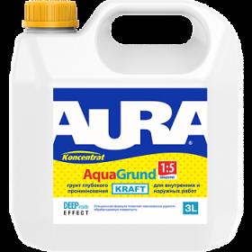 Грунт Глубокого Проникновения Aura 3л Koncentrat Aqua Grund Kraft для Наружных и Внутренних Работ Концентрат