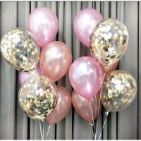 Композиция из шариков розовое золото и шарки с конфетти