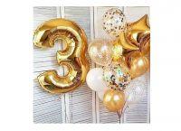 Фонтаны из гелиевых шаров с золотой цифрой