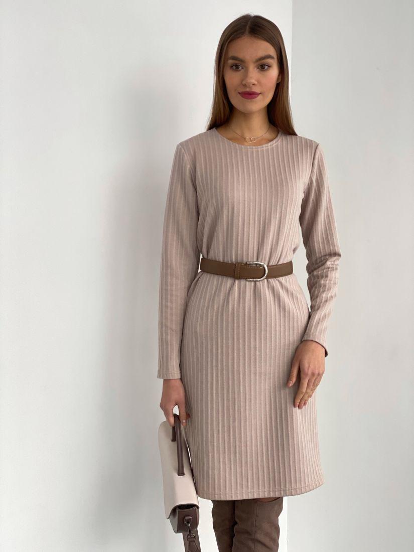 """s3521 Лаконичное платье-свитер в цвете """"крем"""""""