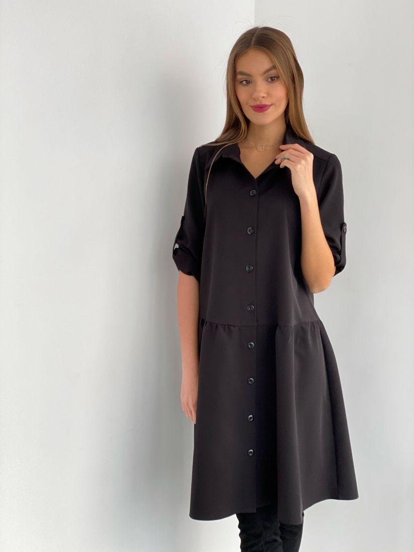 s3526 Платье-рубашка чёрное