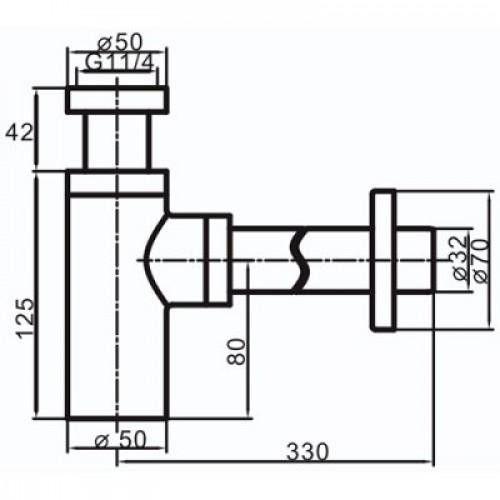 Vaserzberg SUS-6B Черный сифон для раковины