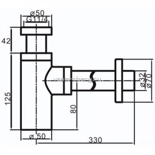 Vaserzberg SUS-6BR Бронзовый сифон для раковины