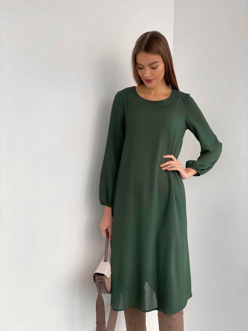 s3536 Платье-трапеция из жатого микрошифона на подкладе зелёное