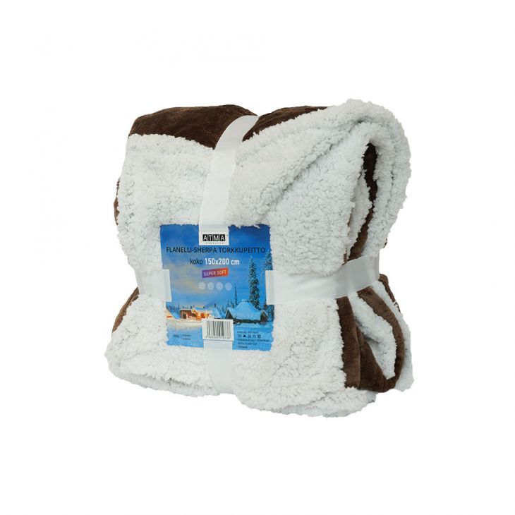 Плед SHERPA Blanket с ворсом 150*200 см brown/white