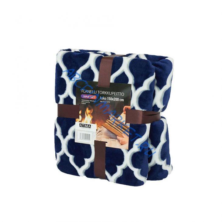 Плед SHERPA Blanket с ворсом 150*200 см blue/white